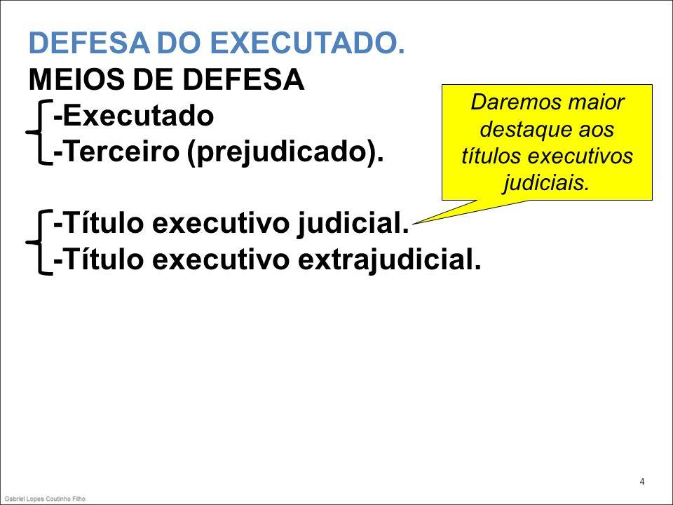 Daremos maior destaque aos títulos executivos judiciais.