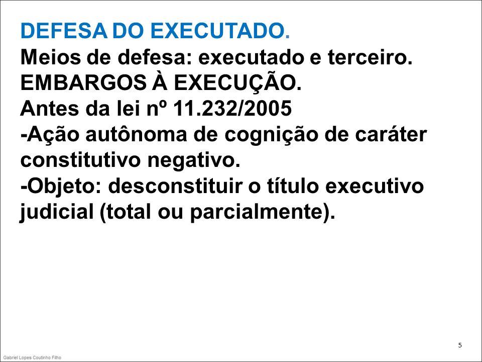 DEFESA DO EXECUTADO. Meios de defesa: executado e terceiro