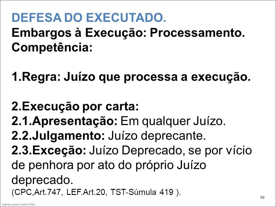 DEFESA DO EXECUTADO. Embargos à Execução: Processamento. Competência: