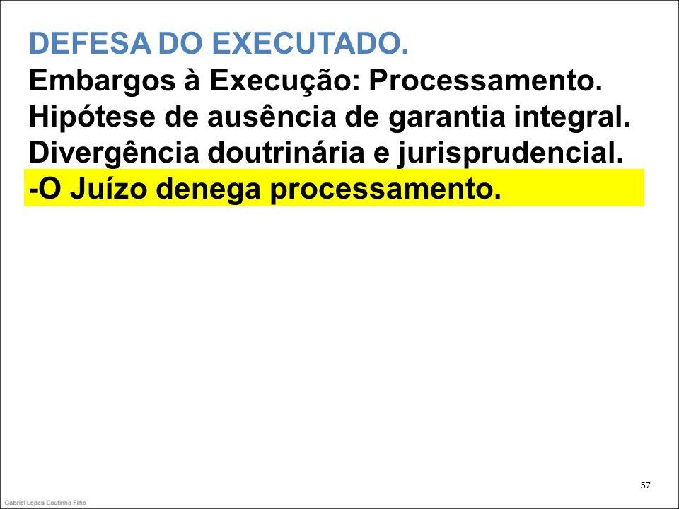 DEFESA DO EXECUTADO. Embargos à Execução: Processamento.