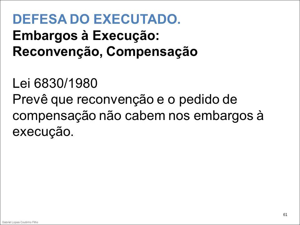 DEFESA DO EXECUTADO. Embargos à Execução: Reconvenção, Compensação