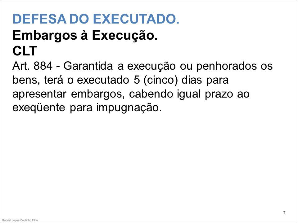 DEFESA DO EXECUTADO. Embargos à Execução. CLT Art