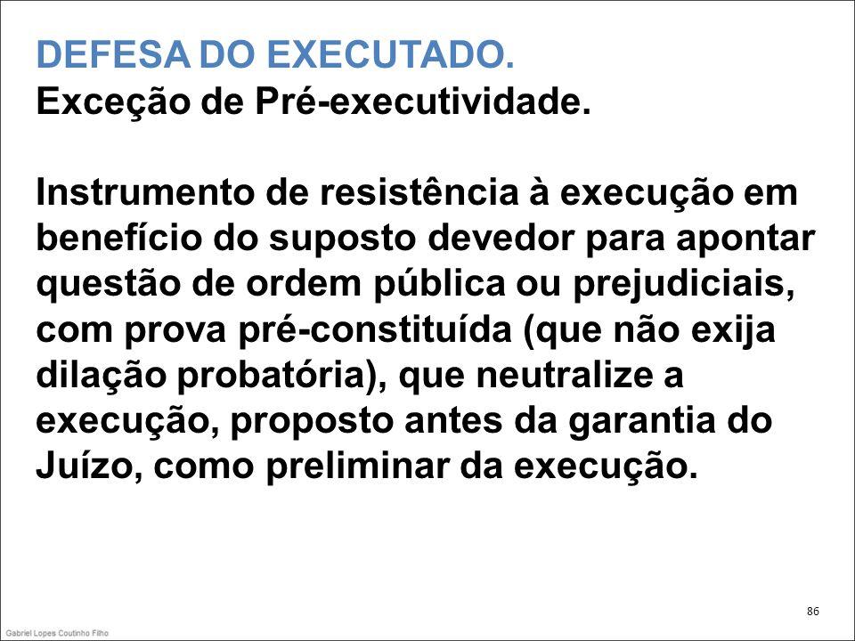 DEFESA DO EXECUTADO. Exceção de Pré-executividade.