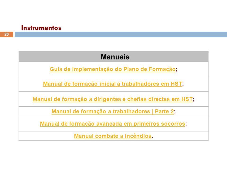 Instrumentos Manuais Guia de Implementação do Plano de Formação;