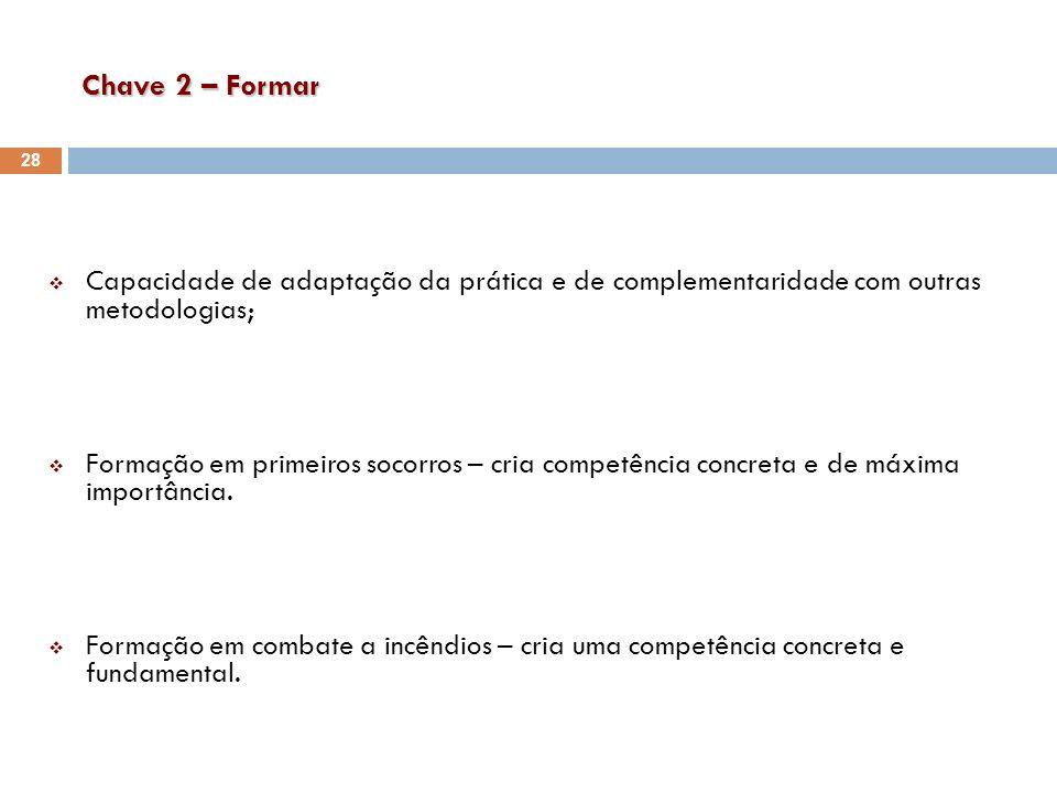Chave 2 – Formar Capacidade de adaptação da prática e de complementaridade com outras metodologias;