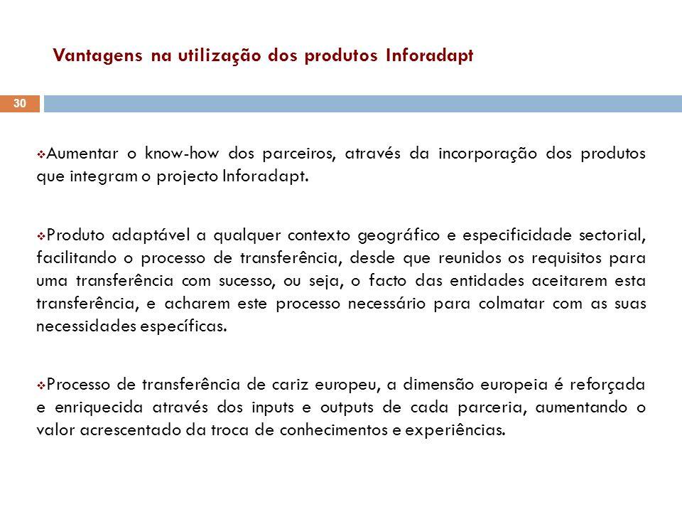 Vantagens na utilização dos produtos Inforadapt