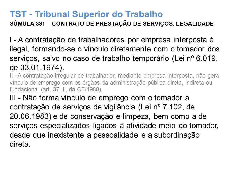 TST - Tribunal Superior do Trabalho SÚMULA 331 CONTRATO DE PRESTAÇÃO DE SERVIÇOS.