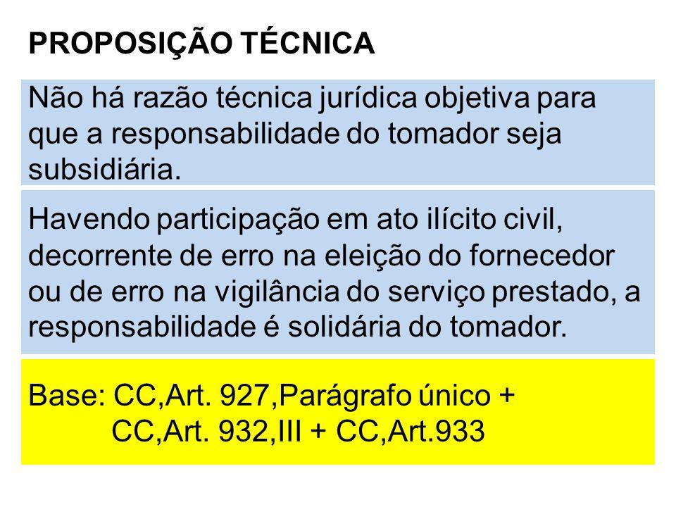 PROPOSIÇÃO TÉCNICA Não há razão técnica jurídica objetiva para que a responsabilidade do tomador seja subsidiária.