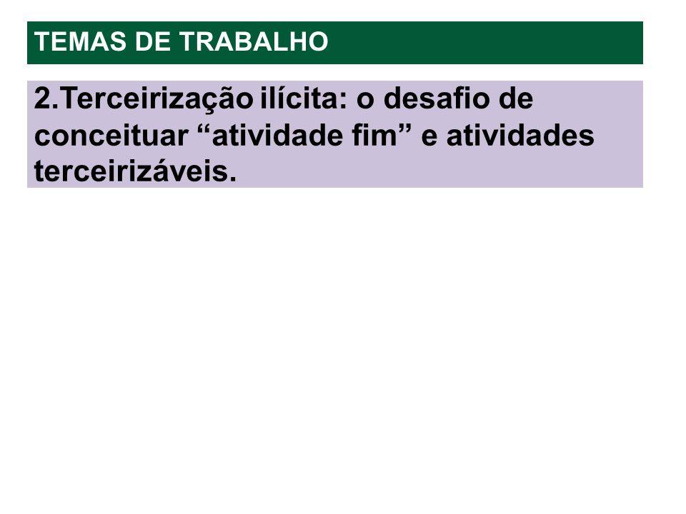 TEMAS DE TRABALHO 2.Terceirização ilícita: o desafio de conceituar atividade fim e atividades terceirizáveis.
