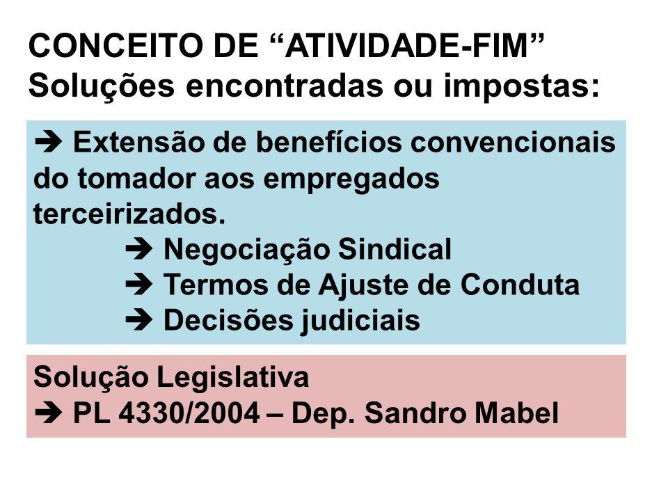 CONCEITO DE ATIVIDADE-FIM Soluções encontradas ou impostas: