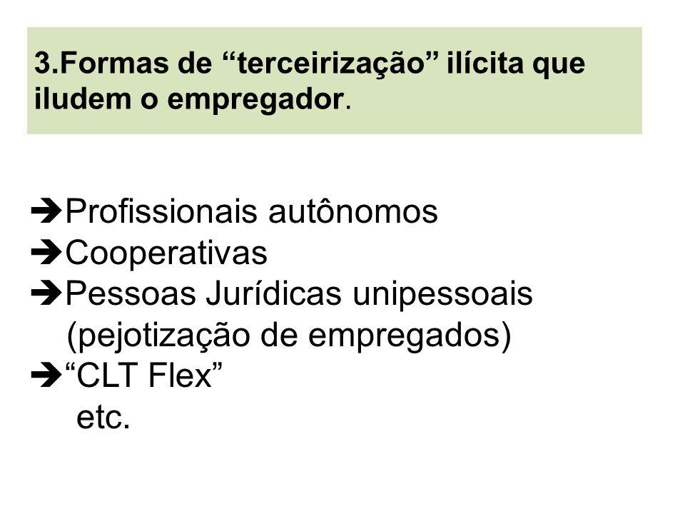 Profissionais autônomos Cooperativas Pessoas Jurídicas unipessoais (pejotização de empregados)  CLT Flex etc.