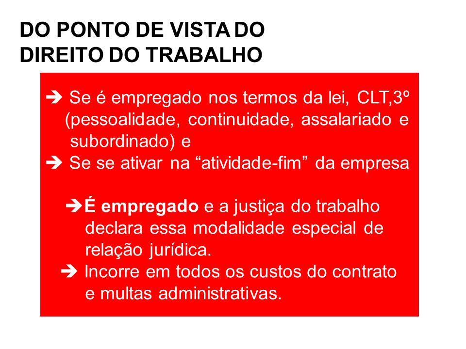DO PONTO DE VISTA DO DIREITO DO TRABALHO