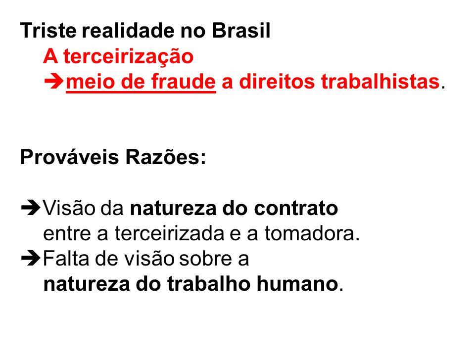 Triste realidade no Brasil A terceirização meio de fraude a direitos trabalhistas.
