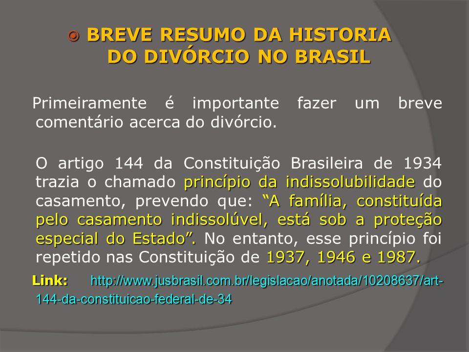 BREVE RESUMO DA HISTORIA DO DIVÓRCIO NO BRASIL