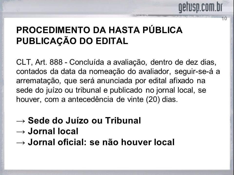 PROCEDIMENTO DA HASTA PÚBLICA PUBLICAÇÃO DO EDITAL