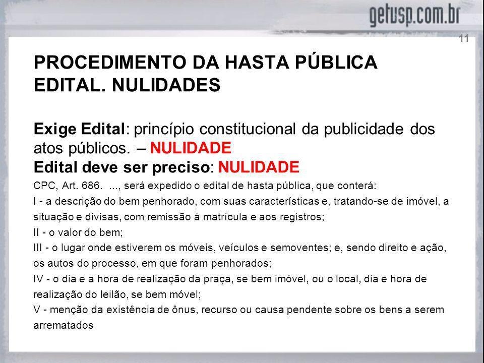 PROCEDIMENTO DA HASTA PÚBLICA EDITAL. NULIDADES