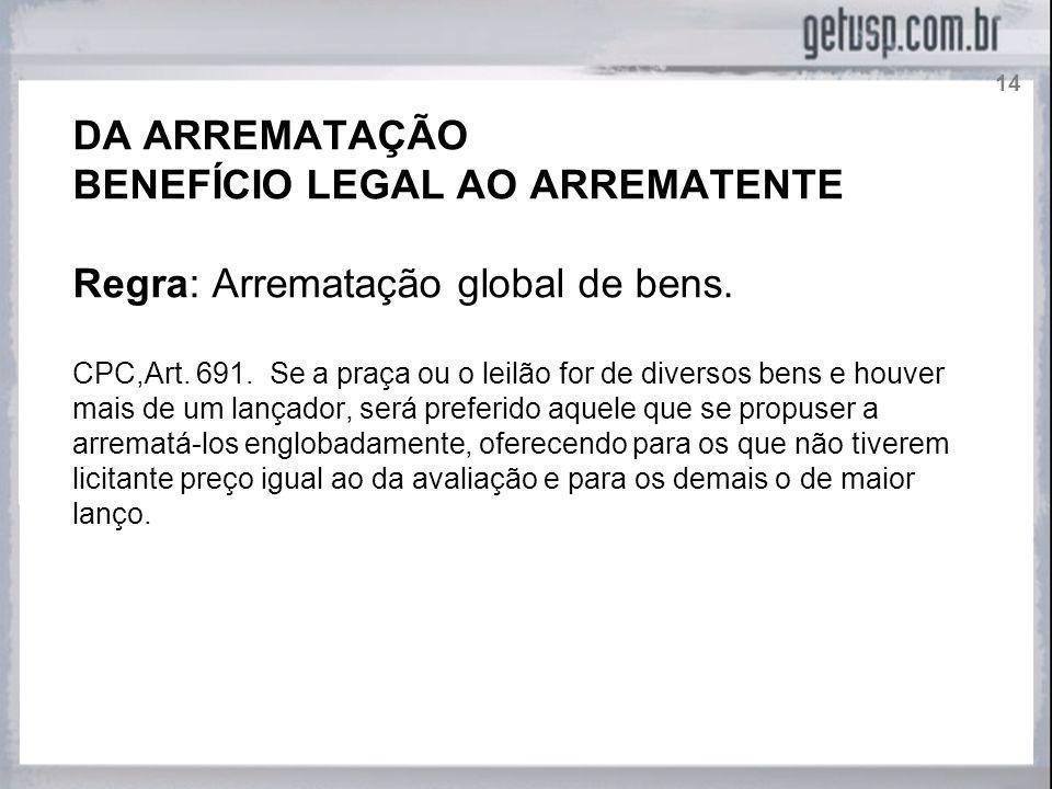 BENEFÍCIO LEGAL AO ARREMATENTE Regra: Arrematação global de bens.