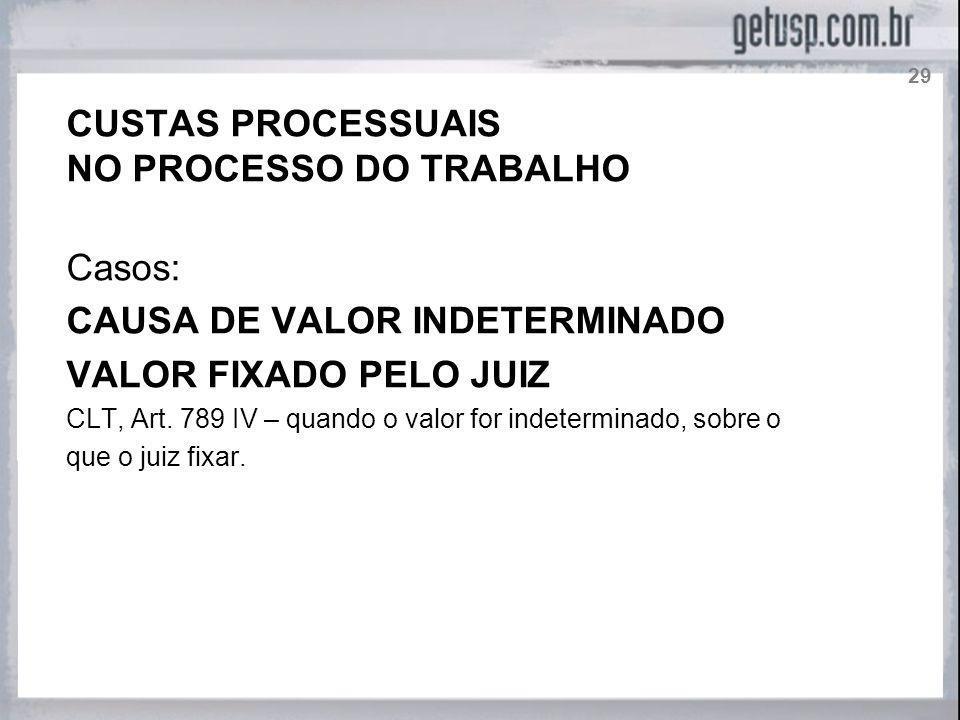 NO PROCESSO DO TRABALHO Casos: CAUSA DE VALOR INDETERMINADO