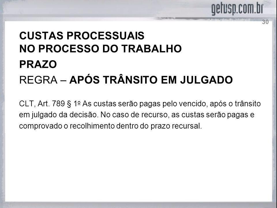 NO PROCESSO DO TRABALHO PRAZO REGRA – APÓS TRÂNSITO EM JULGADO