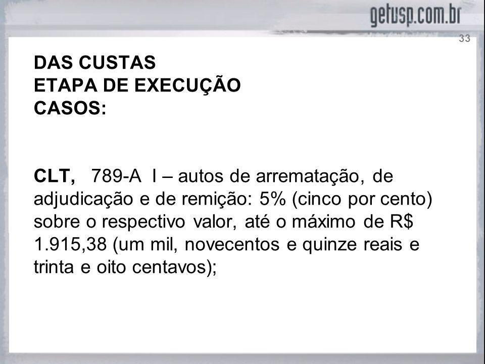 DAS CUSTAS ETAPA DE EXECUÇÃO CASOS: