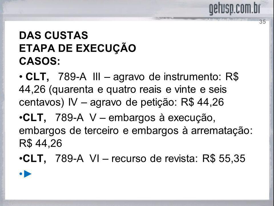 CLT, 789-A VI – recurso de revista: R$ 55,35 ►