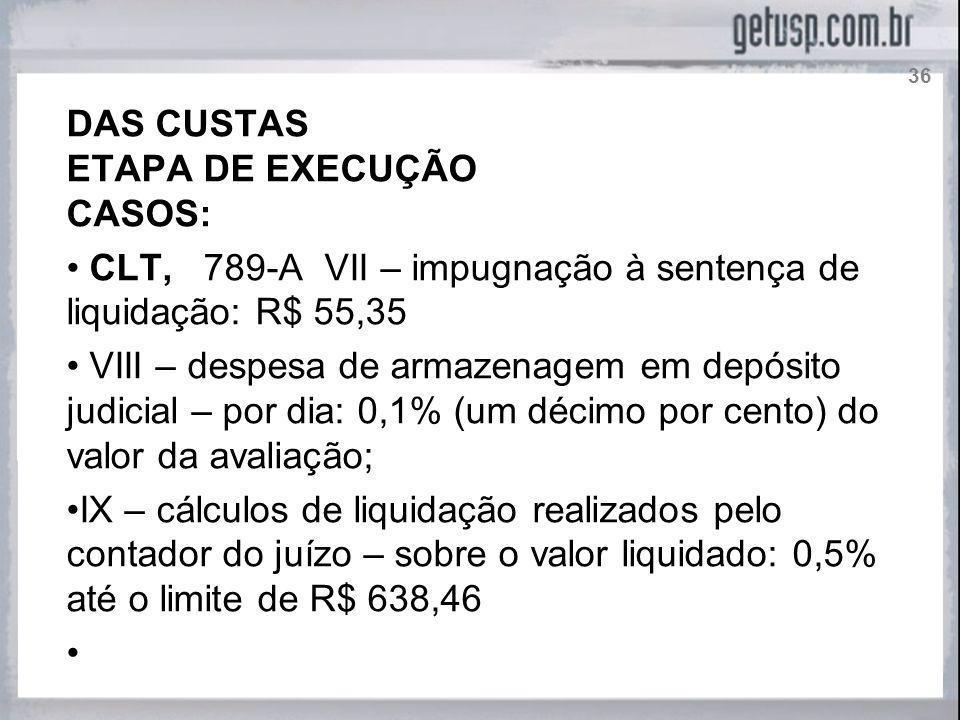 CLT, 789-A VII – impugnação à sentença de liquidação: R$ 55,35