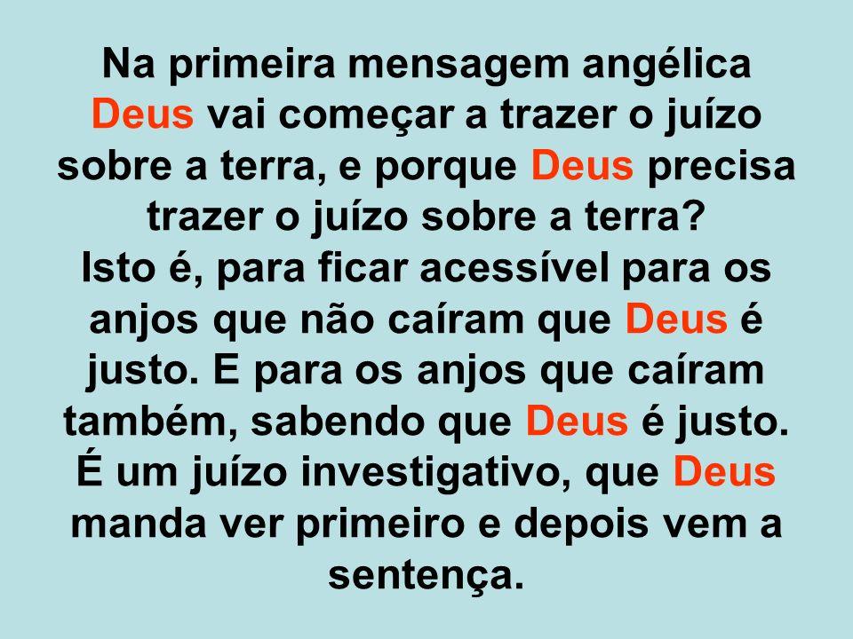 Na primeira mensagem angélica Deus vai começar a trazer o juízo sobre a terra, e porque Deus precisa trazer o juízo sobre a terra.