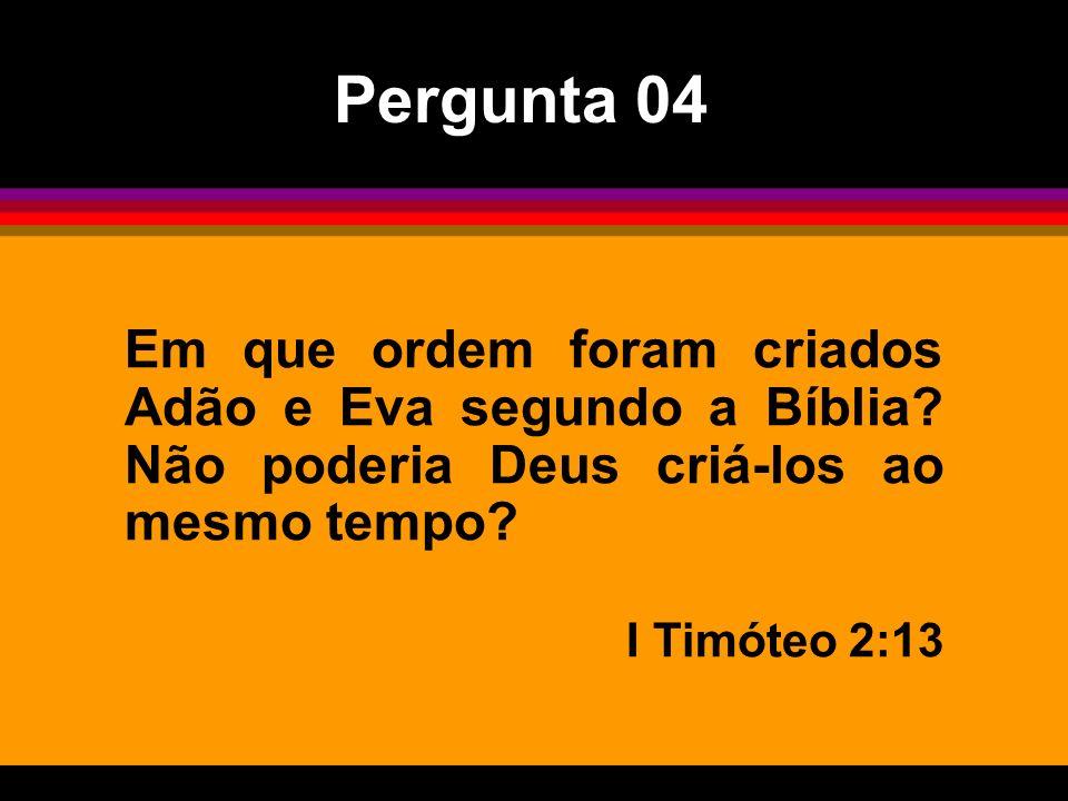 Pergunta 04 Em que ordem foram criados Adão e Eva segundo a Bíblia Não poderia Deus criá-los ao mesmo tempo