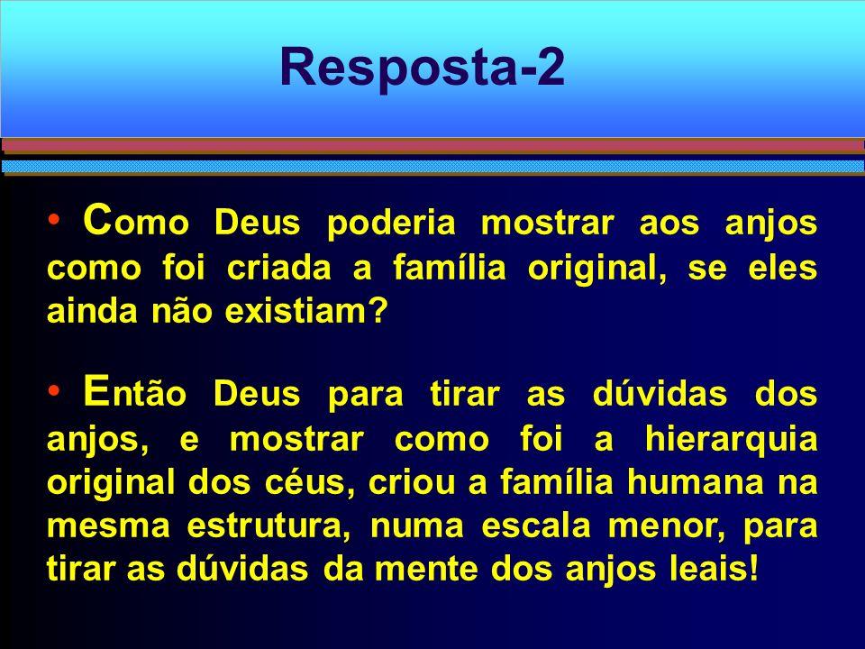 Resposta-2 Como Deus poderia mostrar aos anjos como foi criada a família original, se eles ainda não existiam