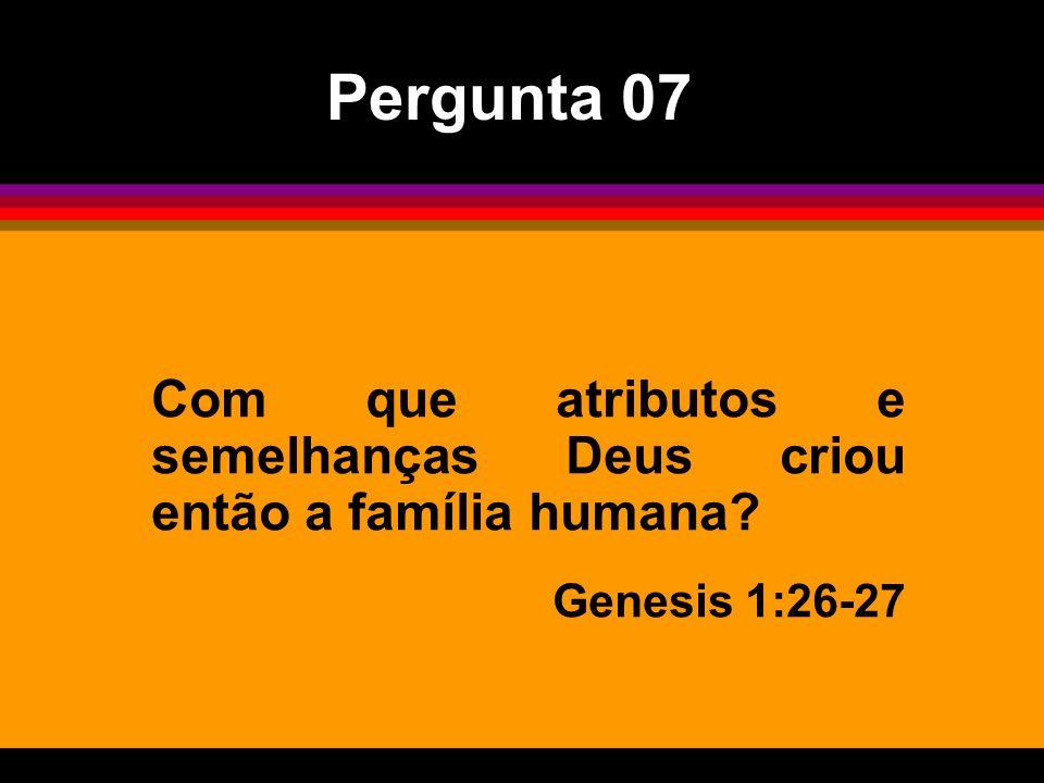 Pergunta 07 Com que atributos e semelhanças Deus criou então a família humana Genesis 1:26-27