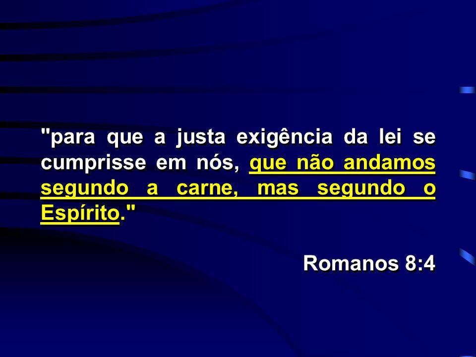para que a justa exigência da lei se cumprisse em nós, que não andamos segundo a carne, mas segundo o Espírito.