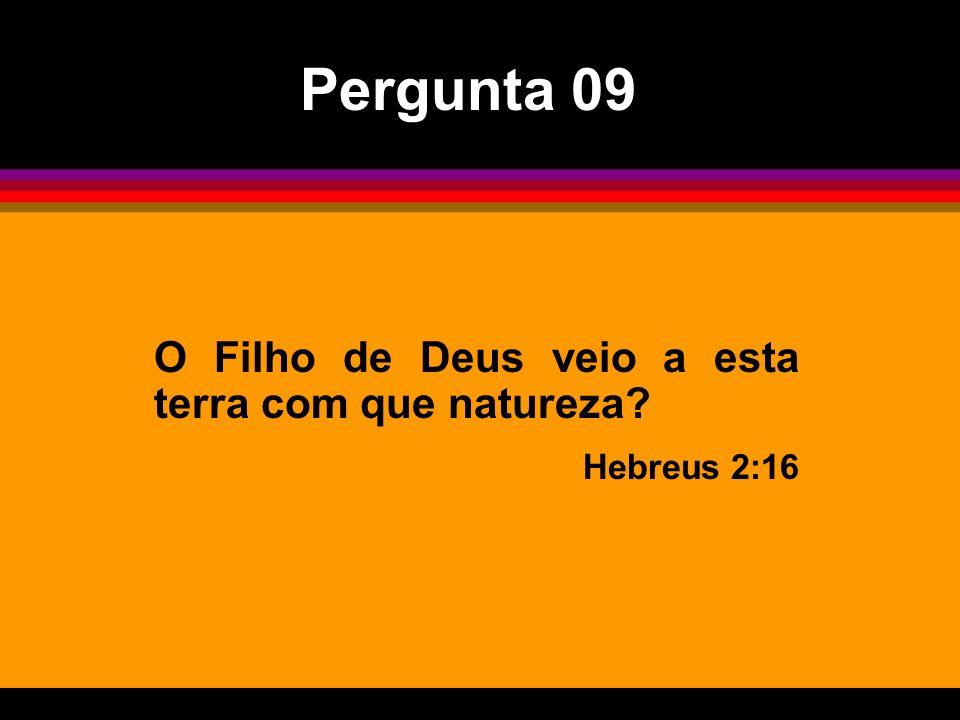 Pergunta 09 O Filho de Deus veio a esta terra com que natureza
