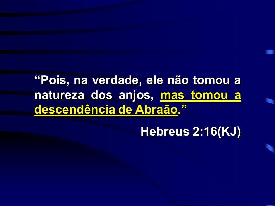 Pois, na verdade, ele não tomou a natureza dos anjos, mas tomou a descendência de Abraão.