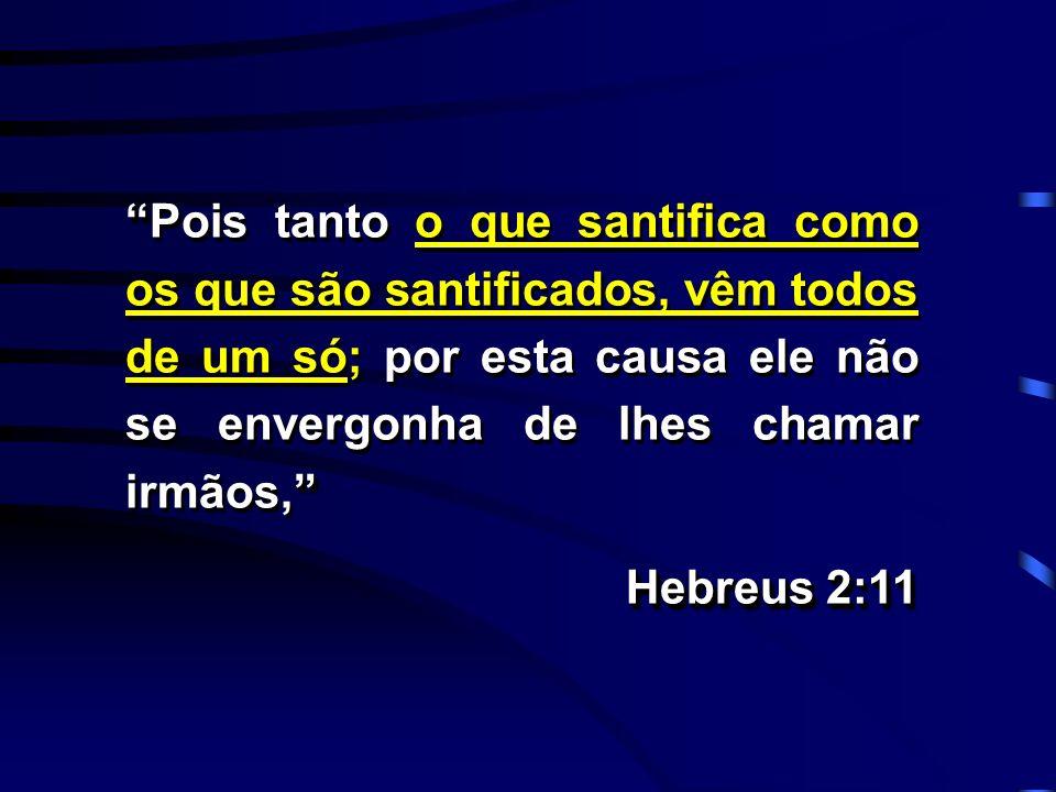 Pois tanto o que santifica como os que são santificados, vêm todos de um só; por esta causa ele não se envergonha de lhes chamar irmãos,