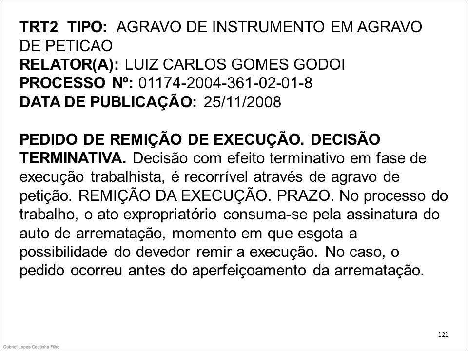 TRT2 TIPO: AGRAVO DE INSTRUMENTO EM AGRAVO DE PETICAO