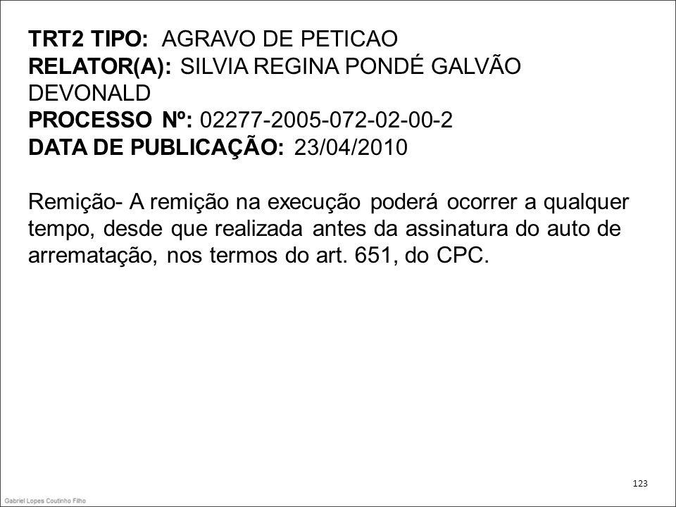 TRT2 TIPO: AGRAVO DE PETICAO
