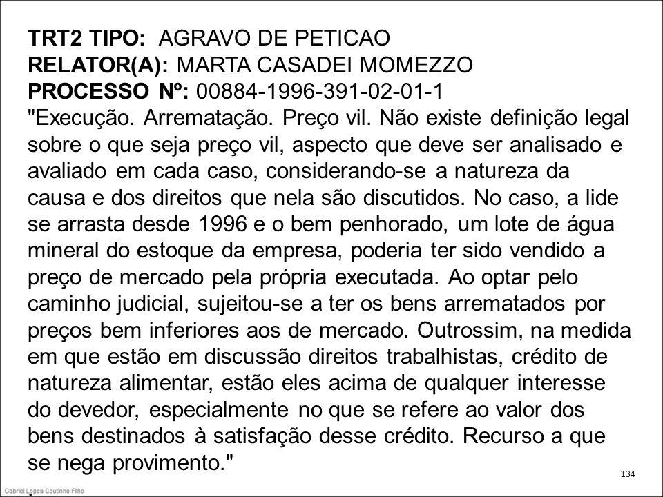 TRT2 TIPO: AGRAVO DE PETICAO RELATOR(A): MARTA CASADEI MOMEZZO