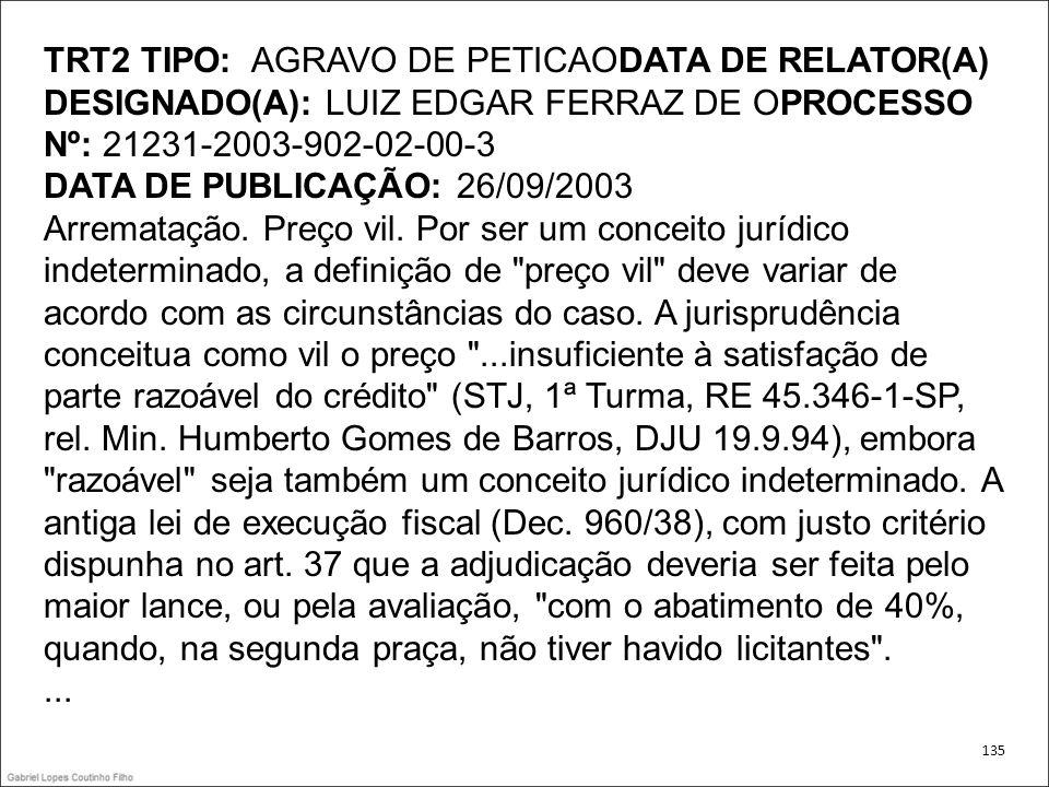 TRT2 TIPO: AGRAVO DE PETICAODATA DE RELATOR(A) DESIGNADO(A): LUIZ EDGAR FERRAZ DE OPROCESSO Nº: 21231-2003-902-02-00-3