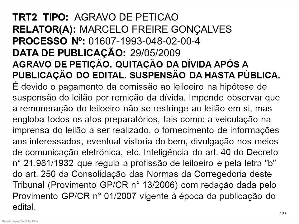 TRT2 TIPO: AGRAVO DE PETICAO RELATOR(A): MARCELO FREIRE GONÇALVES