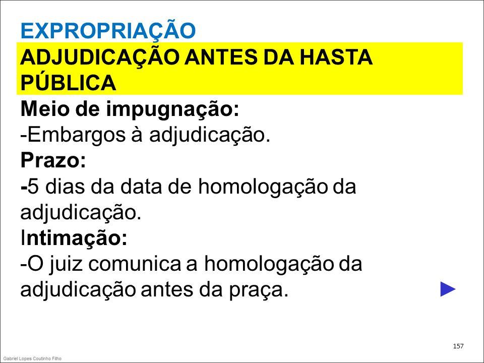 ADJUDICAÇÃO ANTES DA HASTA PÚBLICA Meio de impugnação: