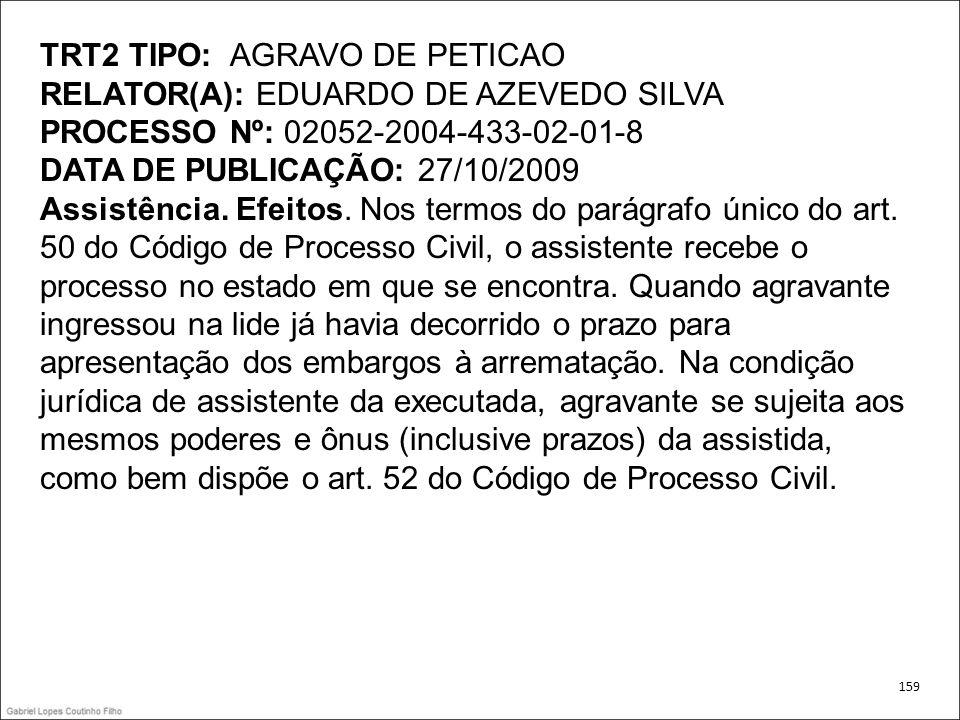 TRT2 TIPO: AGRAVO DE PETICAO RELATOR(A): EDUARDO DE AZEVEDO SILVA