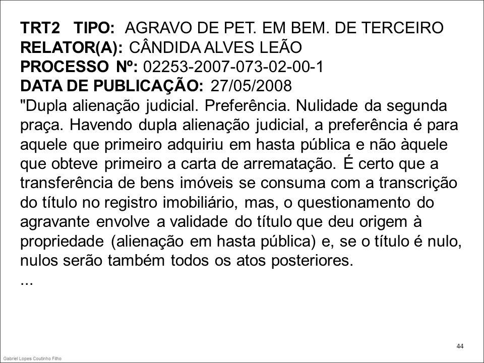 TRT2 TIPO: AGRAVO DE PET. EM BEM. DE TERCEIRO