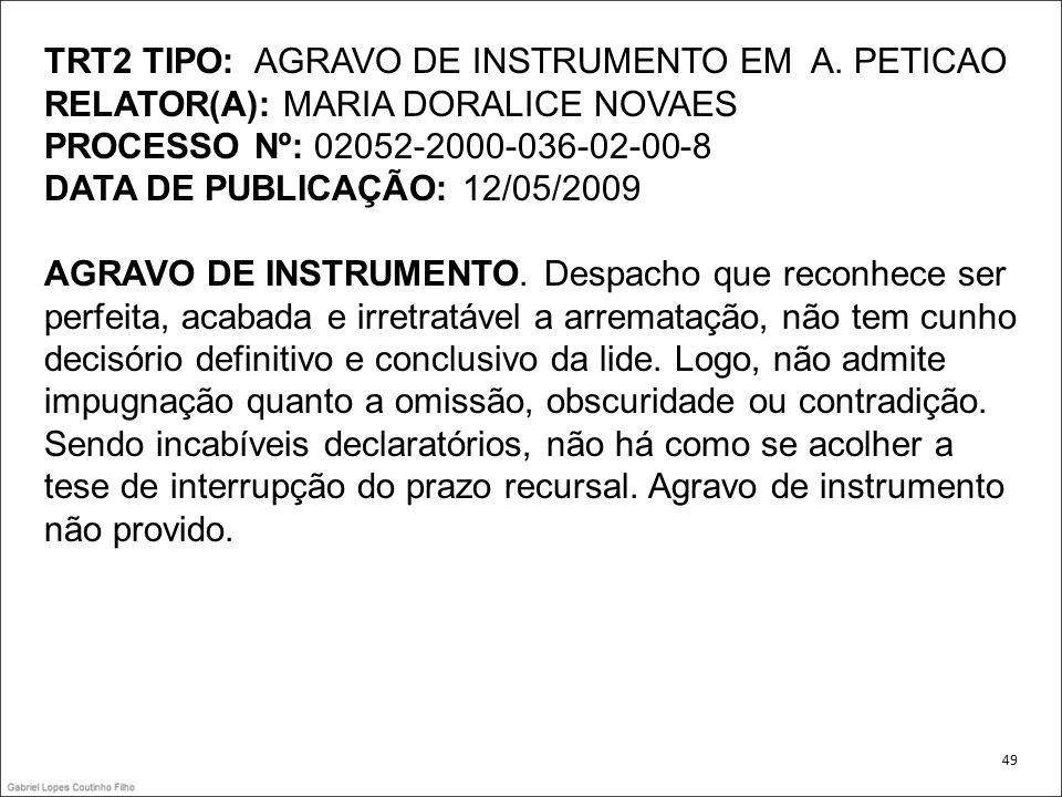TRT2 TIPO: AGRAVO DE INSTRUMENTO EM A. PETICAO
