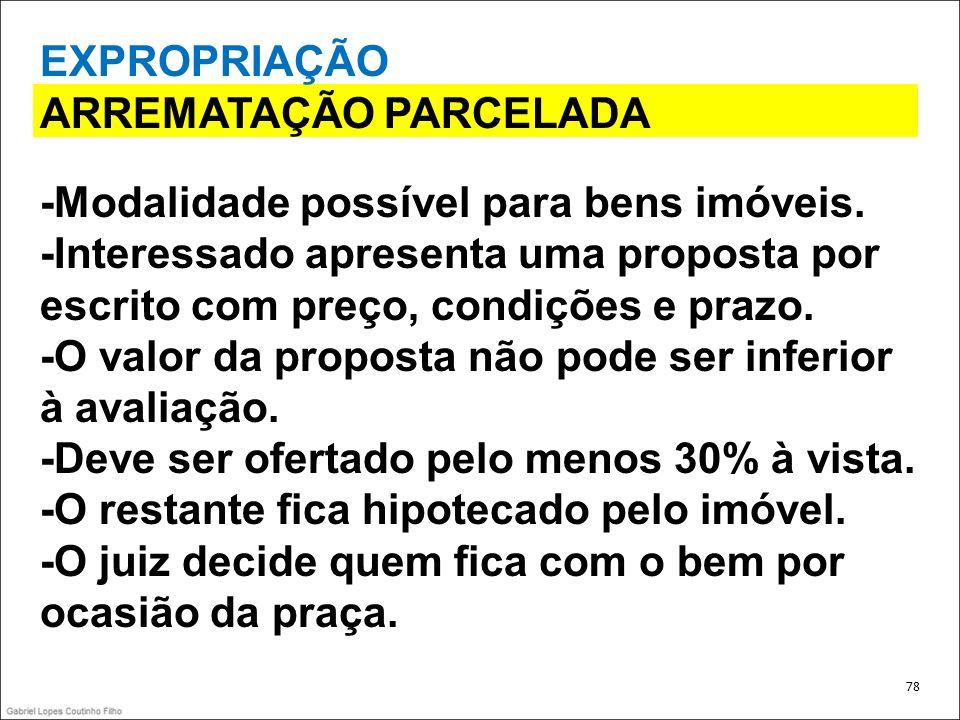 ARREMATAÇÃO PARCELADA -Modalidade possível para bens imóveis.