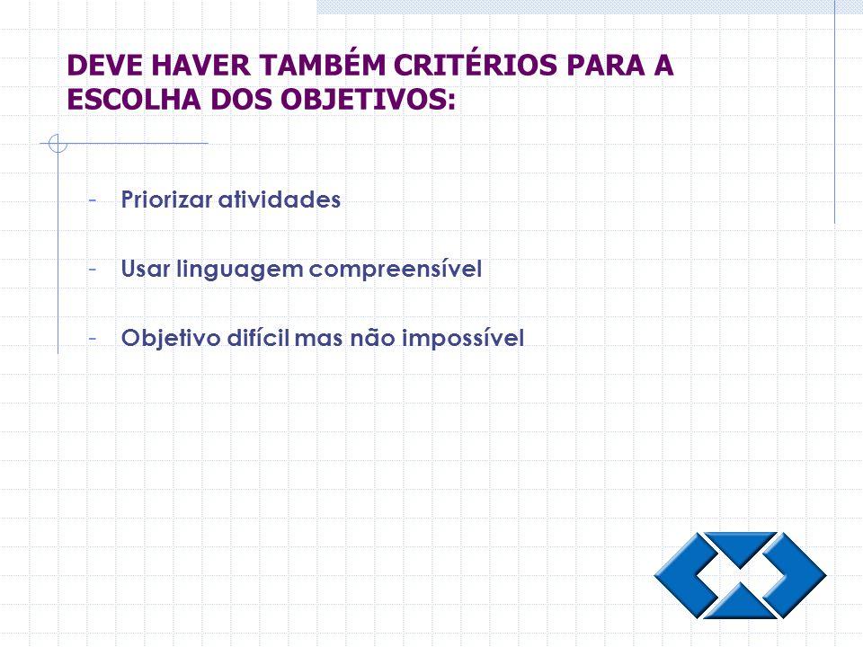 DEVE HAVER TAMBÉM CRITÉRIOS PARA A ESCOLHA DOS OBJETIVOS: