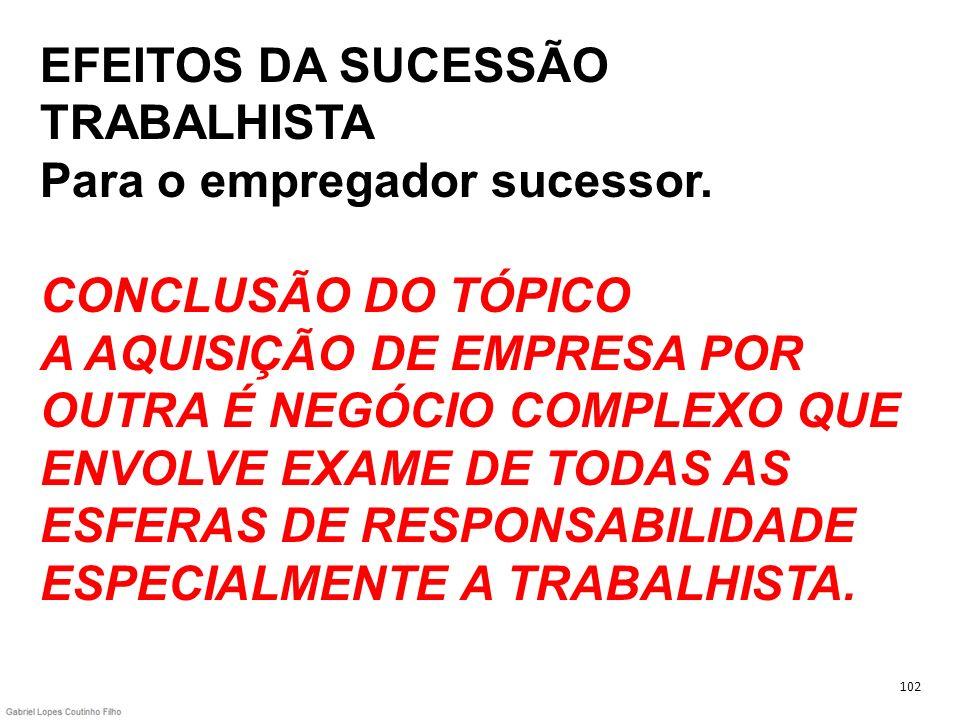 EFEITOS DA SUCESSÃO TRABALHISTA Para o empregador sucessor