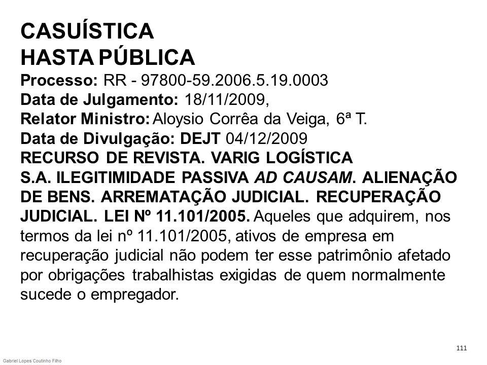 CASUÍSTICA HASTA PÚBLICA Processo: RR - 97800-59. 2006. 5. 19