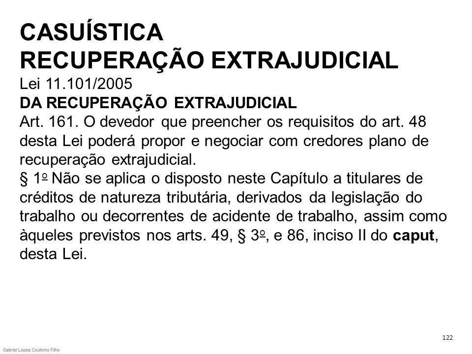 CASUÍSTICA RECUPERAÇÃO EXTRAJUDICIAL Lei 11