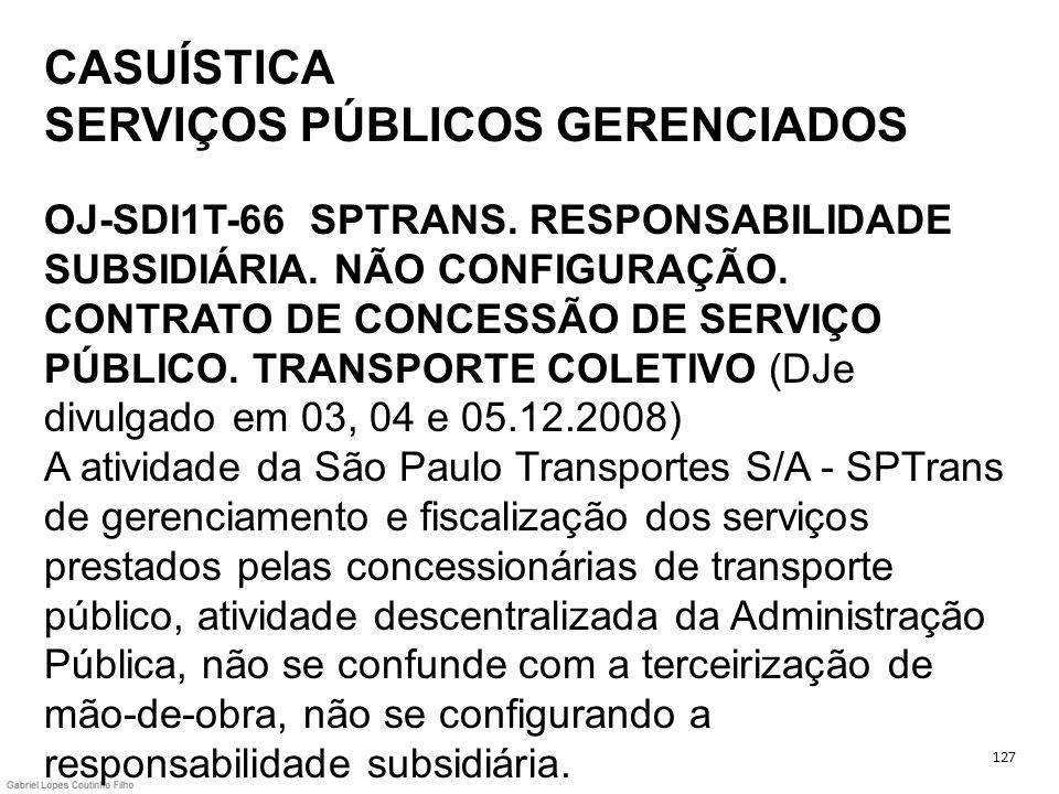 CASUÍSTICA SERVIÇOS PÚBLICOS GERENCIADOS OJ-SDI1T-66 SPTRANS