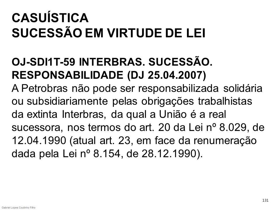 CASUÍSTICA SUCESSÃO EM VIRTUDE DE LEI OJ-SDI1T-59 INTERBRAS. SUCESSÃO